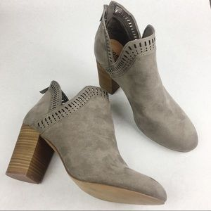 TORRID | Taupe Suede Texture V-Cut Stacked Bootie